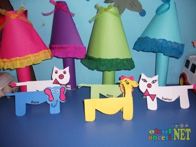 Origami den sevimli kediler ve gece lambaları fil zürafa