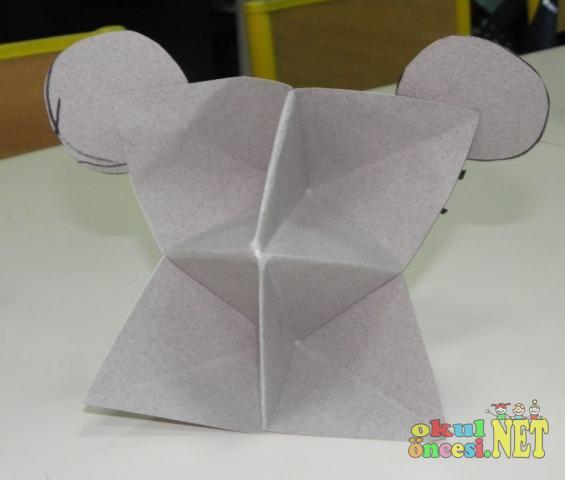 Kağıt katlama kurbağa ve fare