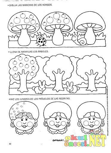 Mantar ağaç ve kızı çizgileri tamamlayarak oluşturalım