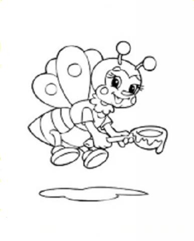 Раскраски с пчелками и медом