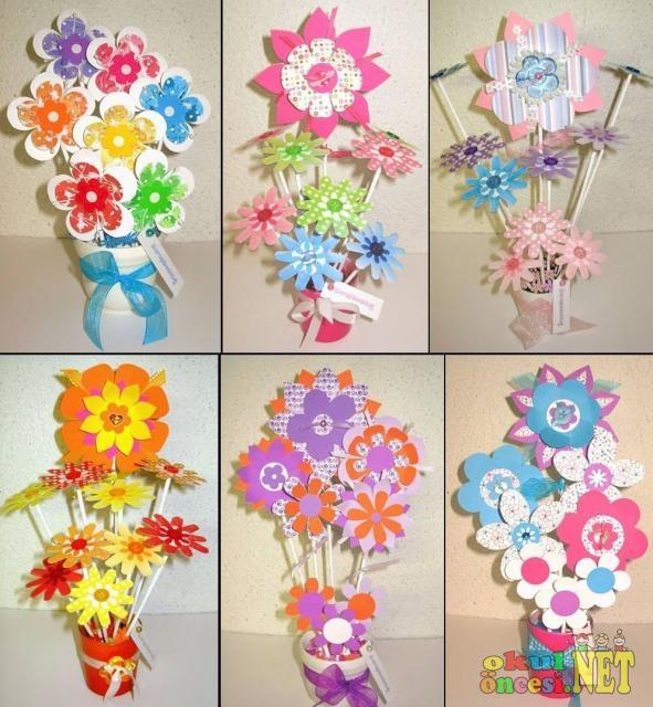 Anneler Günü İçin Renkli Çiçekler - Okul Öncesi NET / Okul
