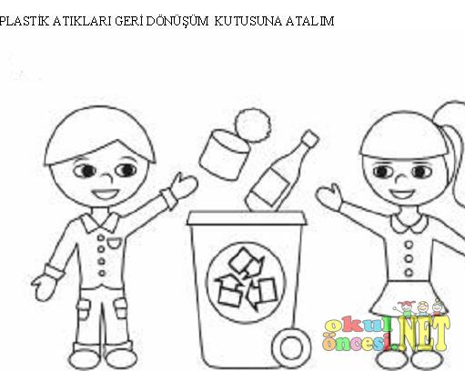 Plastik Atıklarımızı Geri Dönüşüm Kutusuna Atalım Boyama Okul