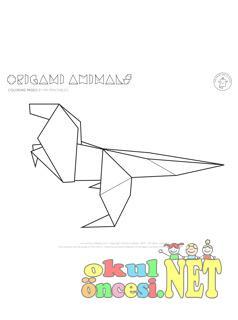 Origami Dinazor Boyama Okul öncesi Okul öncesi Etkinlikleri