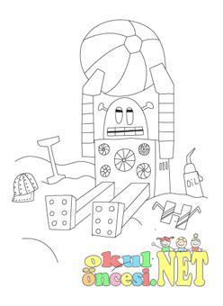 Plajda Guneslenen Robot Boyama Okul Oncesi Okul Oncesi