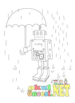 Yağmurda şemsiyeli Robot Boyama Okul öncesi Okul öncesi