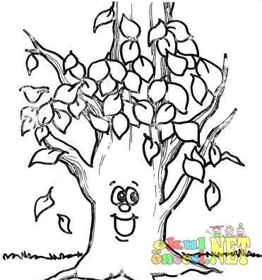 Sonbahar Ağacı Boyama Sayfası Okul öncesi Okul öncesi