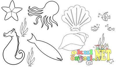Deniz Canlıları Boyama Sayfası Okul öncesi Okul öncesi