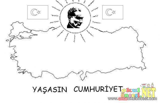 Atatürk Ve Türkiye Boyama Sayfası Okul öncesi Okul öncesi