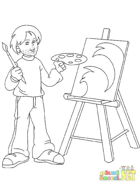 Ressamlık Mesleği Ile Ilgili Boyama Sayfası Okul öncesi Okul