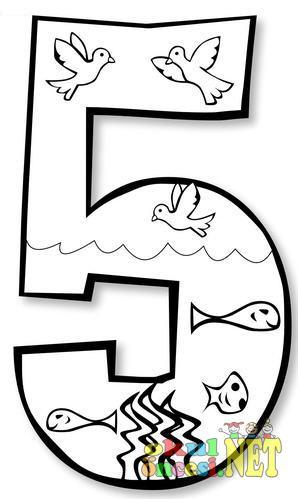5 Rakamıyla Ilgili Boyama Sayfaları Okul öncesi Okul öncesi