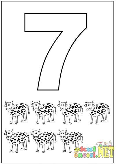 7 Rakamıyla Ilgili Boyama Sayfaları Okul öncesi Okul öncesi