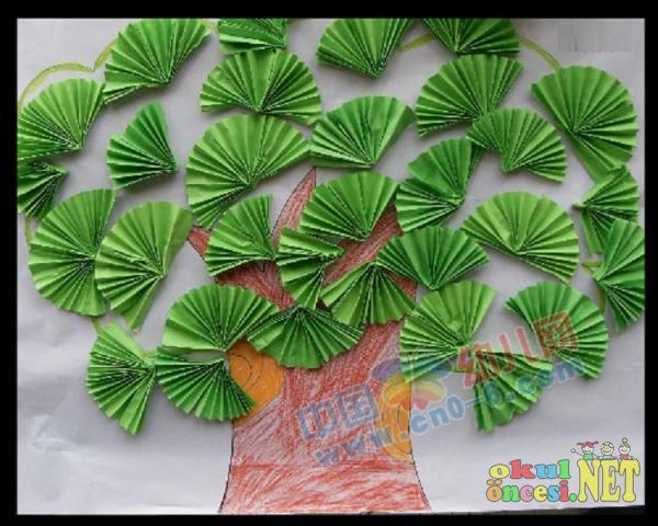 Yelpaze Katlama Ile Yapılmış Ağaç Okul öncesi Okul öncesi