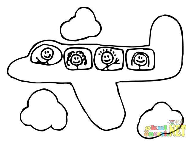 Uçak Boyama Sayfası Okul öncesi Okul öncesi Etkinlikleri Ana Okulu