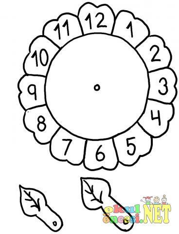 çiçek Saat Boyama Sayfası Okul öncesi Okul öncesi Etkinlikleri