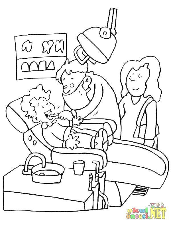 Dişçi Boyama Sayfası Okul öncesi Okul öncesi Etkinlikleri Ana