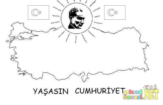 Cumhuriyet Bayramı Için Boyama Sayfası Okul öncesi Okul öncesi
