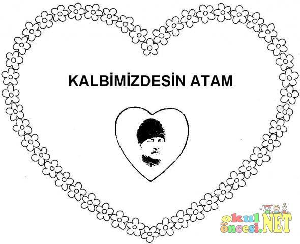 Cumhuriyet Bayramı Için Kalpli Atatürk çerçeveleri Okul öncesi