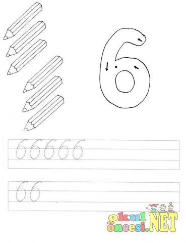 6 Rakamı çalışma Sayfaları Okul öncesi Okul öncesi Etkinlikleri