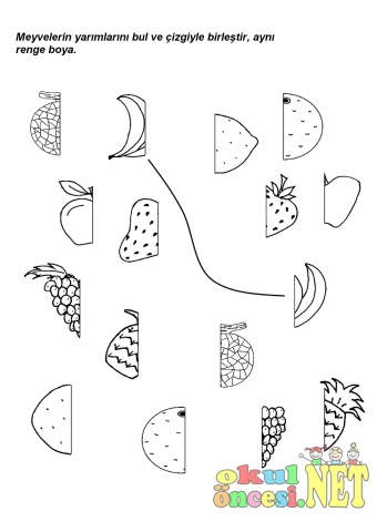 Meyvelerle Bütün Yarım Kavramı Okul öncesi Okul öncesi