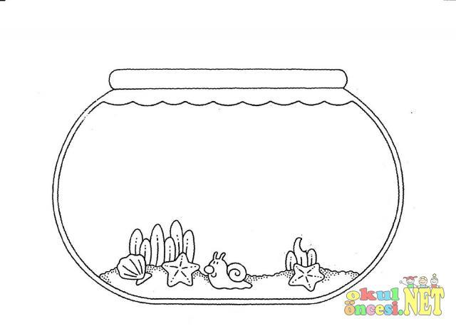 Akvaryumda Balıklar Kalıplı Okul öncesi Okul öncesi