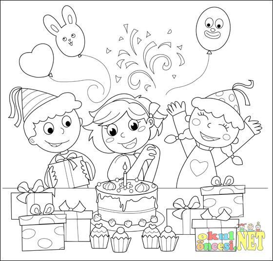 Doğum Günü Konulu üç Boyama Okul öncesi Okul öncesi Etkinlikleri