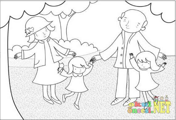 Büyükanne Büyükbaba Ve Torunlar Boyama Okul öncesi Okul öncesi