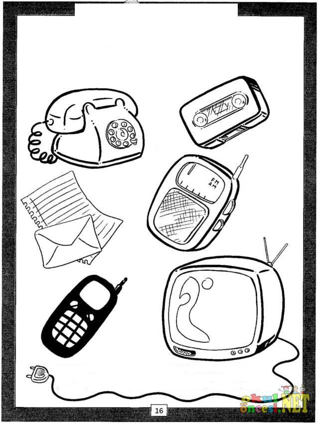 Haberleşme Araçları Boyama Okul öncesi Okul öncesi Etkinlikleri