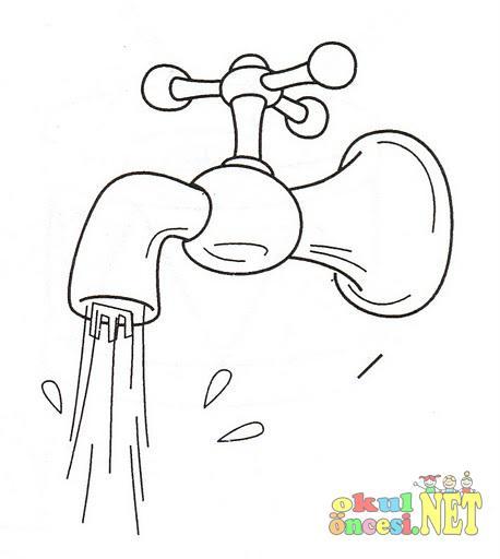 Musluktan Akan Su Boyamalar Okul öncesi Okul öncesi