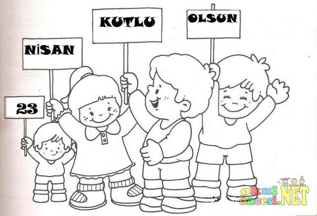 23 Nisan Kutlu Olsun Pankartli Cocuklar Boyama Okul Oncesi