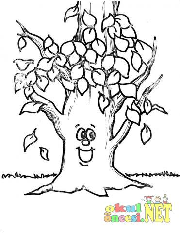 Mutlu Sonbahar Ağacı Boyama Okul öncesi Okul öncesi Etkinlikleri