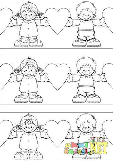 Sevgi Dolu çocuklar Boyama Okul öncesi Okul öncesi