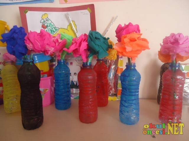 Pet şişeden Vazo Ve çiçekleri Okul öncesi Okul öncesi