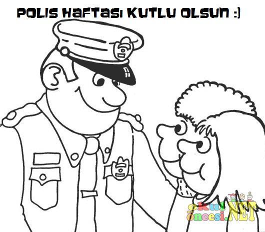 Polis Haftası Boyama Sayfası Okul öncesi Okul öncesi