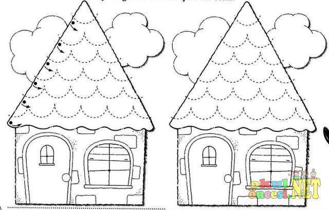 çizgileri Tamamlayarak Evi Oluştur Okul öncesi Okul öncesi