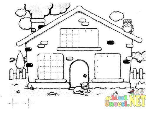 Evin Camlarındaki Eksik çizgileri Tamamla Ve Sen De çiz Okul