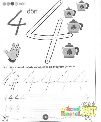 4 Sayısı Ile Ilgili çizgi Tamamlama çalışması Okul öncesi Okul