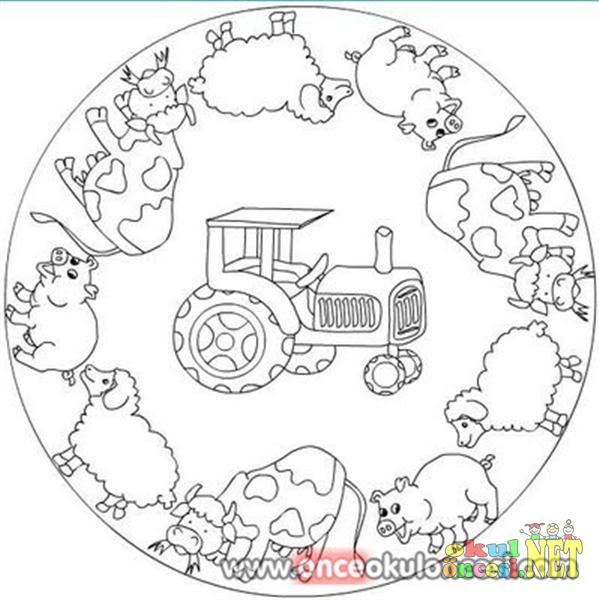 Hayvanlar Ile Ilgili Mandala Boyama Sayfası Okul öncesi Okul