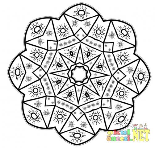 Yıldızlı Zor Mandala Boyama Sayfası Okul öncesi Okul öncesi