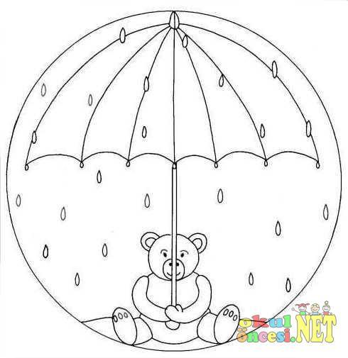 şemsiye Ve Ayıcıklı Mandala Okul öncesi Okul öncesi Etkinlikleri