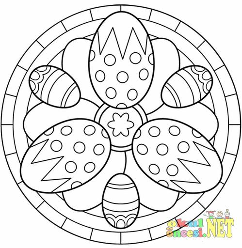 Yumurtalı Mandala Boyama Sayfası Okul öncesi Okul öncesi