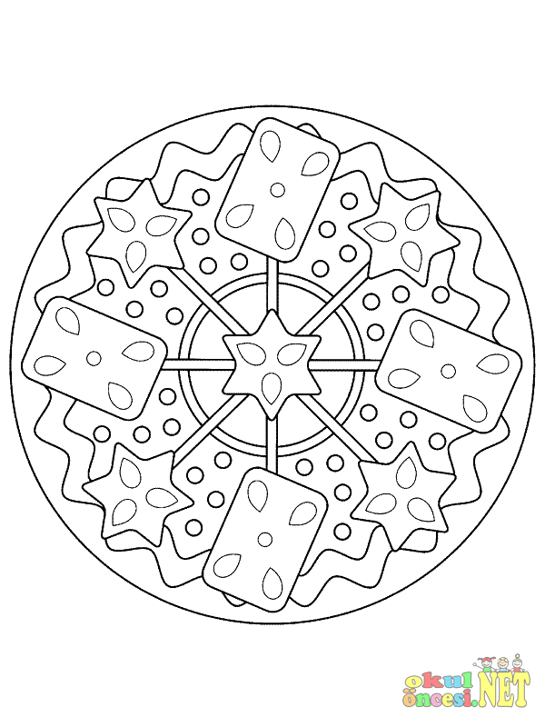 Biskuviye Benzeyen Mandala Sayfasi Okul Oncesi Okul Oncesi