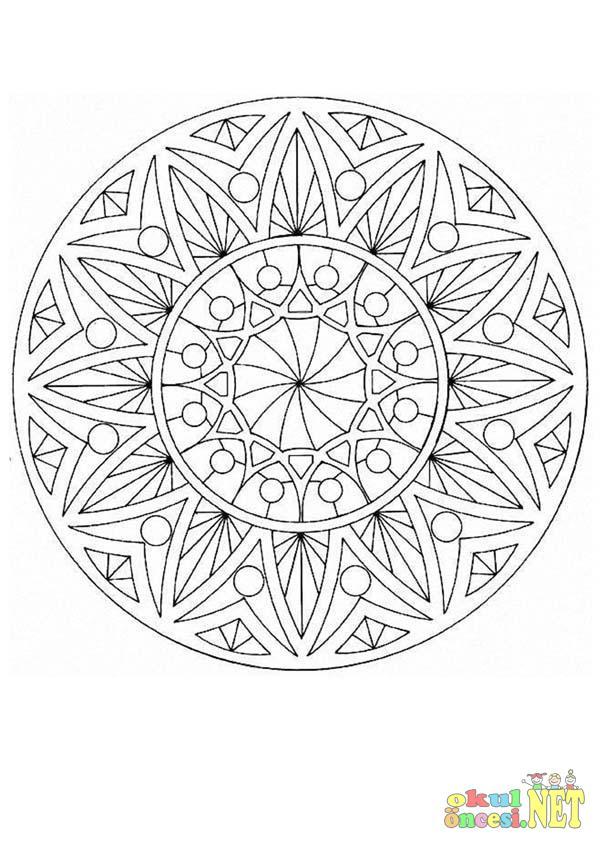 şekilli Mandala Boyama Sayfası Okul öncesi Okul öncesi
