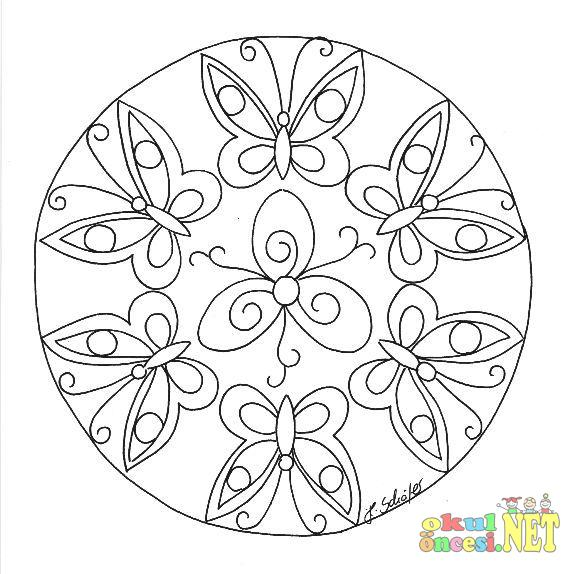 Kelebek Desenli Mandala Okul Oncesi Okul Oncesi Etkinlikleri