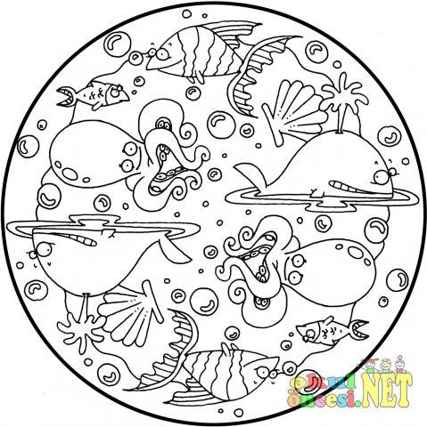 Deniz Canlıları Ile Ilgili Mandala Okul öncesi Okul öncesi