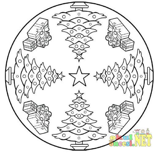 Yılbaşı Ile Ilgili Mandala örneği Okul öncesi Okul öncesi