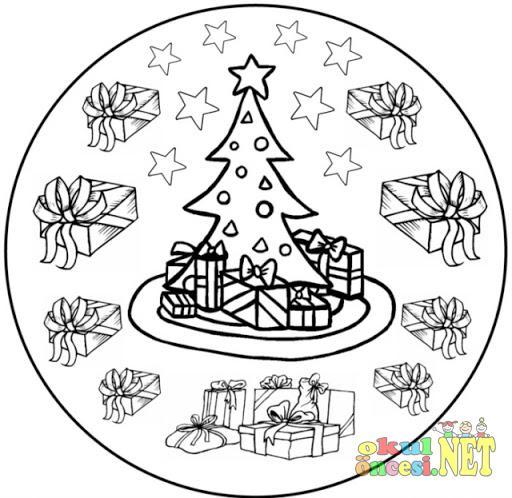 Yeni Yıl Ile Ilgili Mandala örneği Okul öncesi Okul öncesi