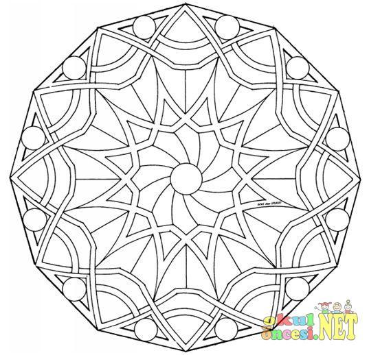 Büyük Yaş Grubu Için Dört Mandala örneği Okul öncesi Okul öncesi