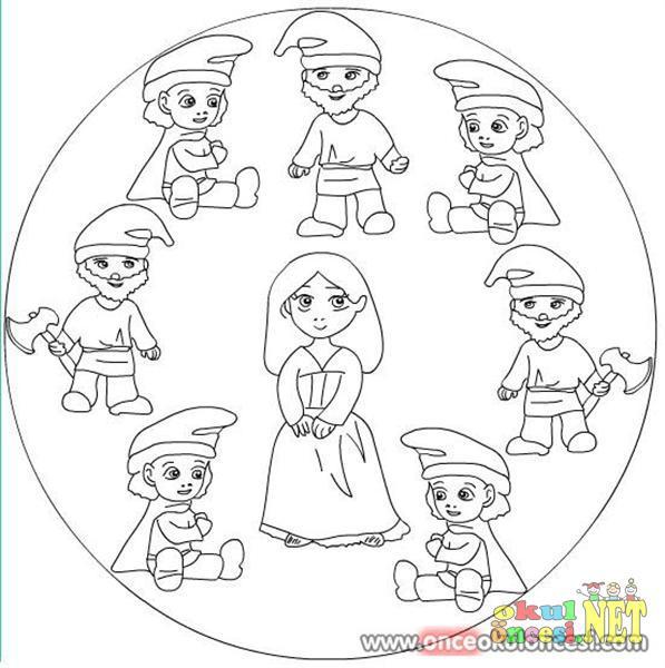 Pamuk Prenses Ve Yedi Cücelerin Mandalası Okul öncesi Okul