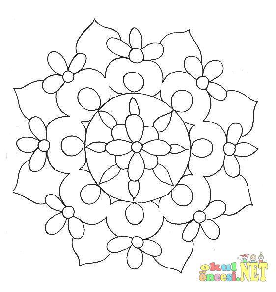 çiçekli Mandala Boyama Sayfası Okul öncesi Okul öncesi