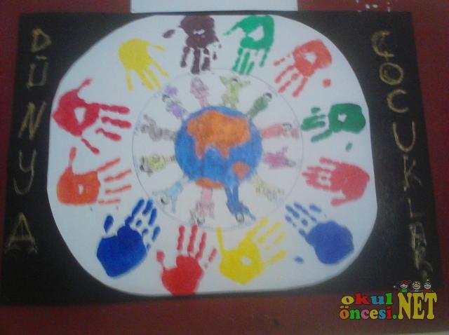 Dünya çocuk Günü Için El Baskısı Okul öncesi Okul öncesi